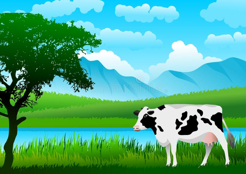 Landscape with a cow. In the foreground, blue sky with clouds and mountains, green meadows and a lake. Vector illustration stock illustration