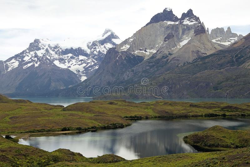 Cuernos del Paine in Torres del Paine National Park, Magallanes Region, southern Chile royalty free stock photo