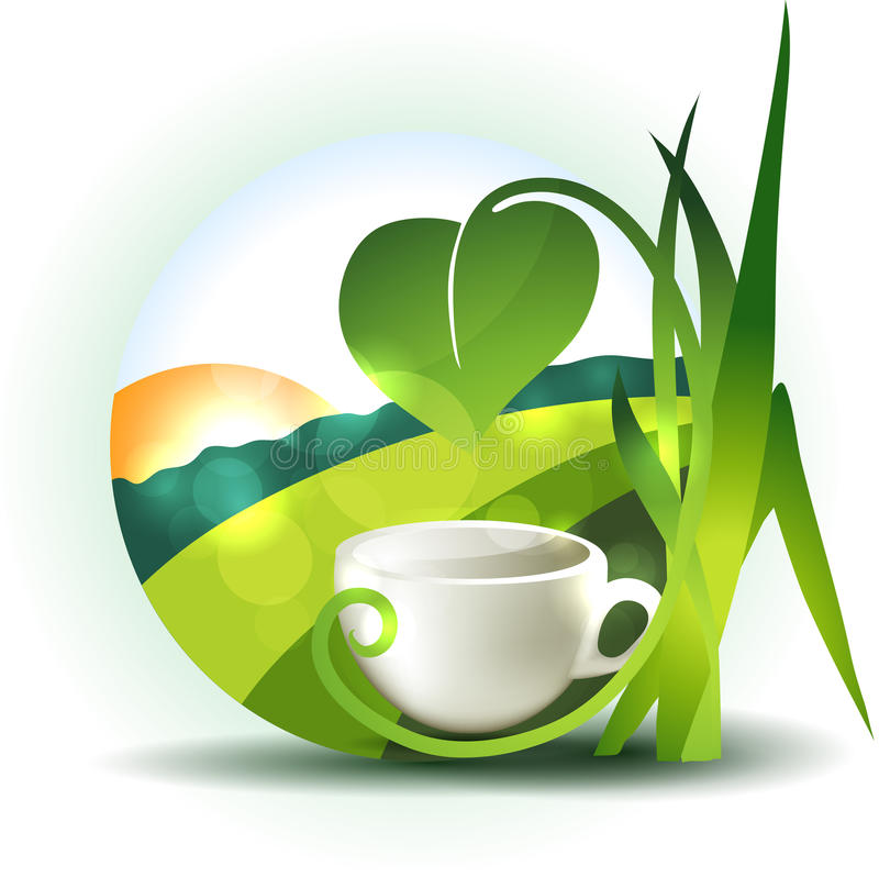Landscape and cup of tea stock illustration