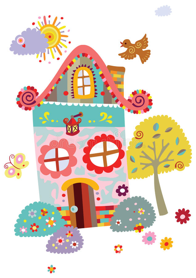 Download Landscape With Cute House And Tree Stock Vector - Image: 16254567