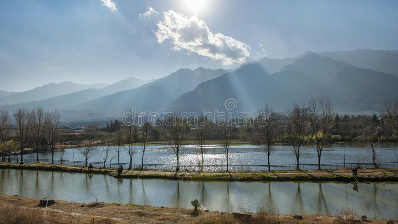 Landscape in dali ancient town royalty free stock photos