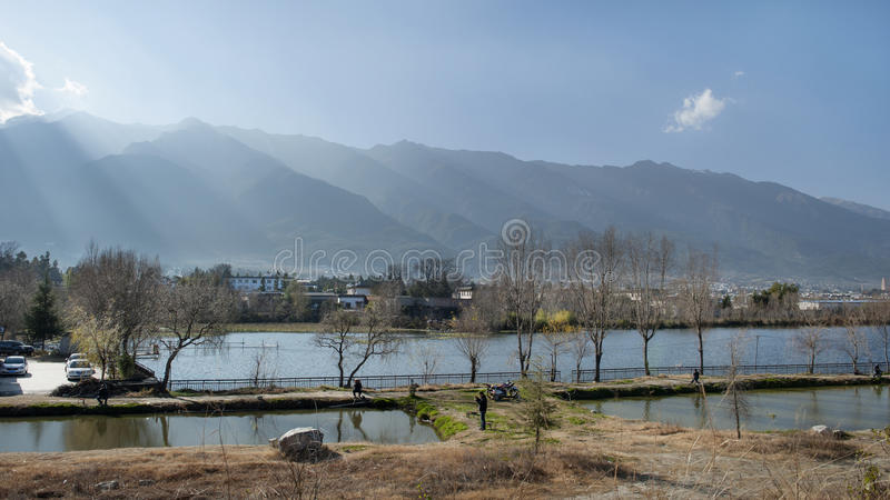 Landscape in dali ancient town royalty free stock photo