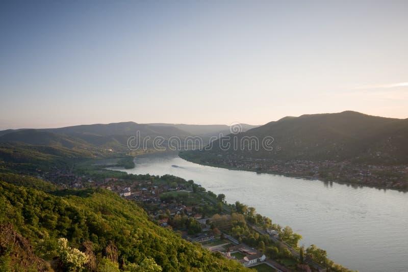 Landscape with Danube river. Beautiful landscape with Danube river stock images