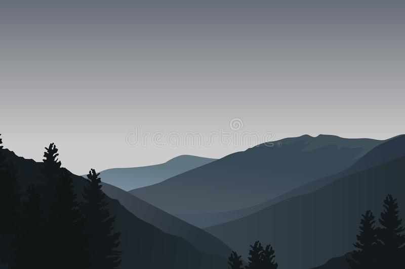Landscape with dark blue silhouettes of mountains, hills and trees - vector illustration royalty free illustration