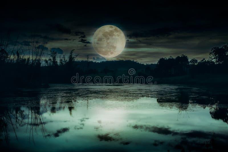 Landscape of dark night sky and beautiful bright full moon stock photography