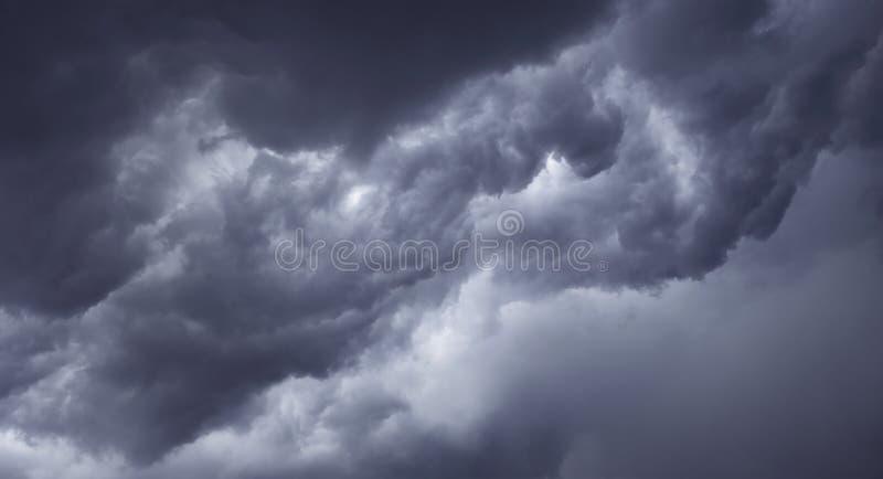 Dark ominous grey storm clouds. Landscape of dark ominous grey storm clouds stock photo