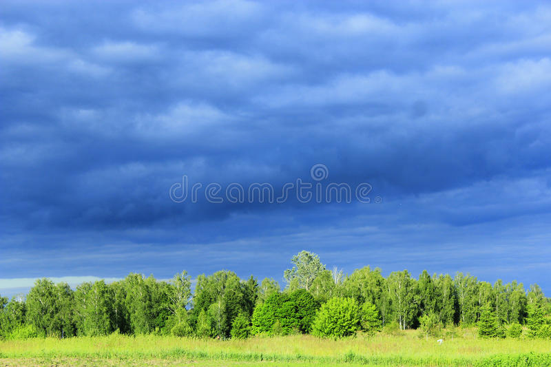 Landscape with dark rainy clouds under the forest. And meadow royalty free stock photos