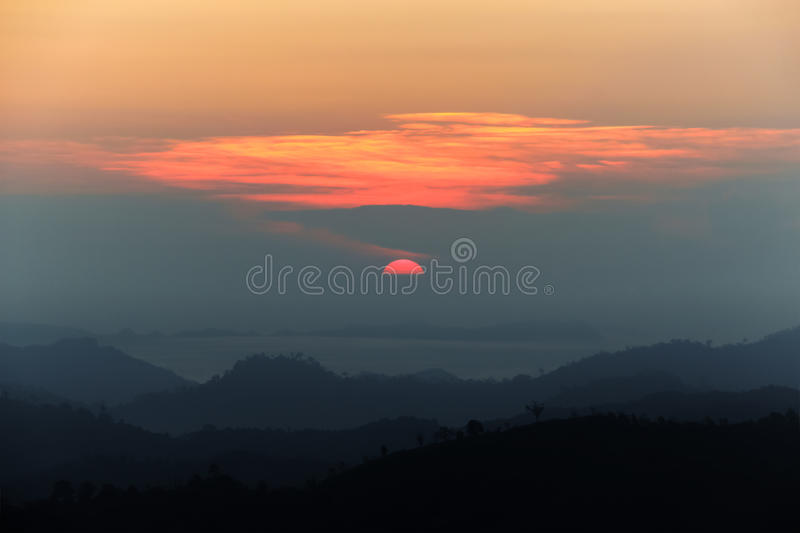Landscape of dawn coming in top of mountain royalty free stock image