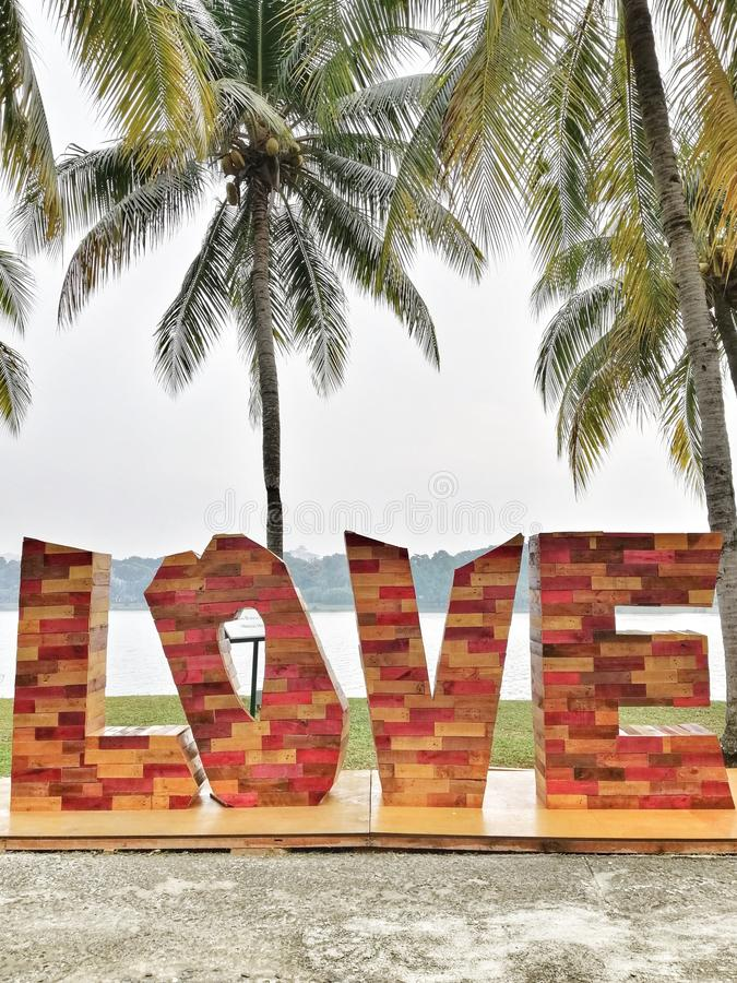 Landscape decoration wording love at Botanical Garden Putrajaya Malaysia. Lovebackground stock image