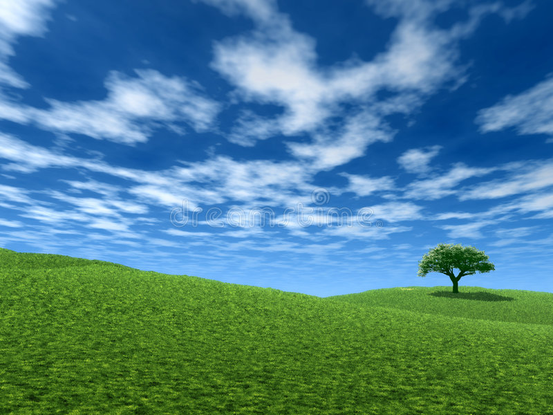 landscape den ensamma treen royaltyfri illustrationer