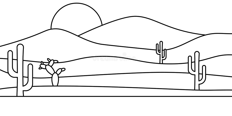 Landscape desert Sahara cactus summer illustration stock illustration