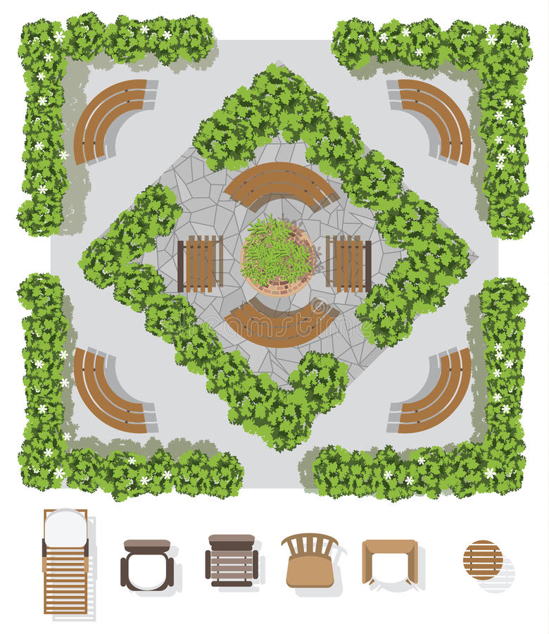 Download Landscape Design Composition With Top View Gardening Stock Vector