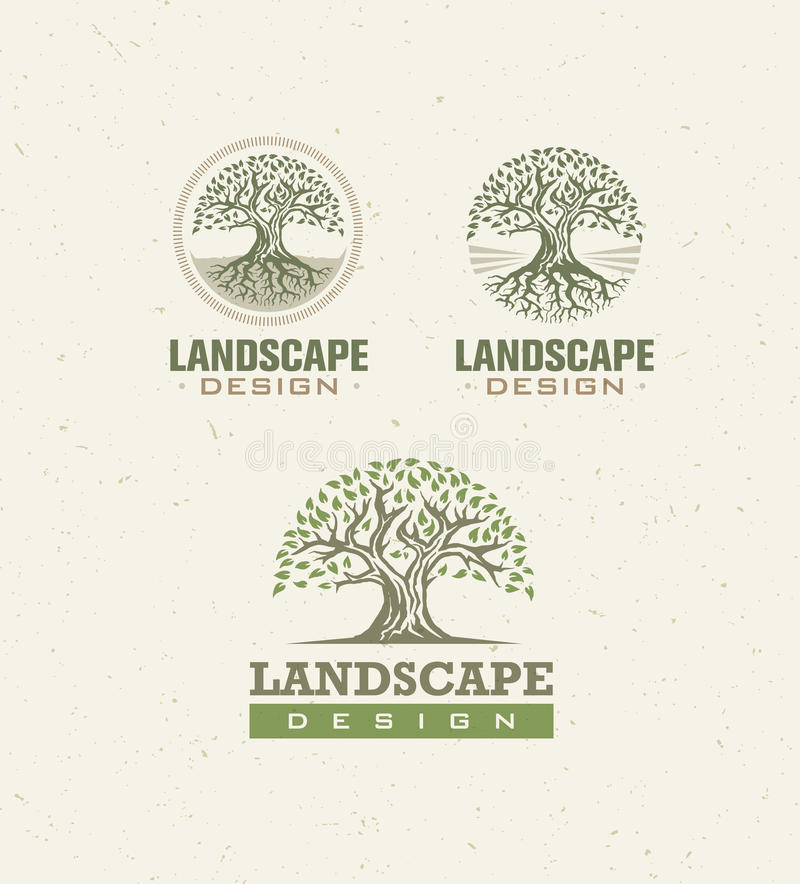 Landscape Design Creative Vector Concept. Tree With Roots Inside Circle Organic Sign Set On Craft Paper Background. royalty free illustration