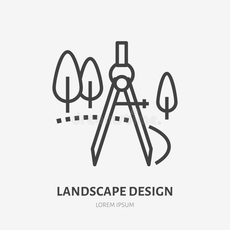 Landscape design flat line icon. Vector thin sign of landscaping, engineering logo. Illustration of trees and compass vector illustration