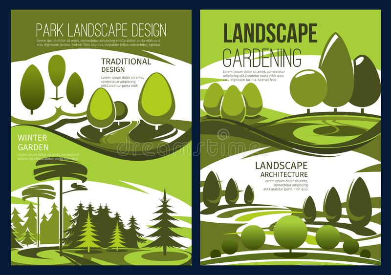 Landscape design, garden green tree and lawn. Landscape design and landscaping service vector banners with green garden tree, park lawn and forest nature view stock illustration