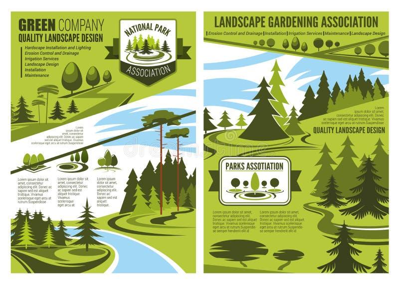 Landscape design and gardening association posters. Landscape gardening association or horticulture design company poster or brochure. Vector eco landscaping royalty free illustration