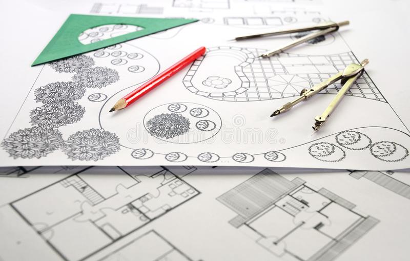 Landscape design and house apartment plan. Photo of landscape architect design garden plan royalty free stock photography
