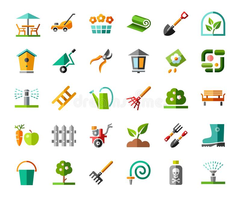 Landscape design, icons, colored, vector. stock illustration