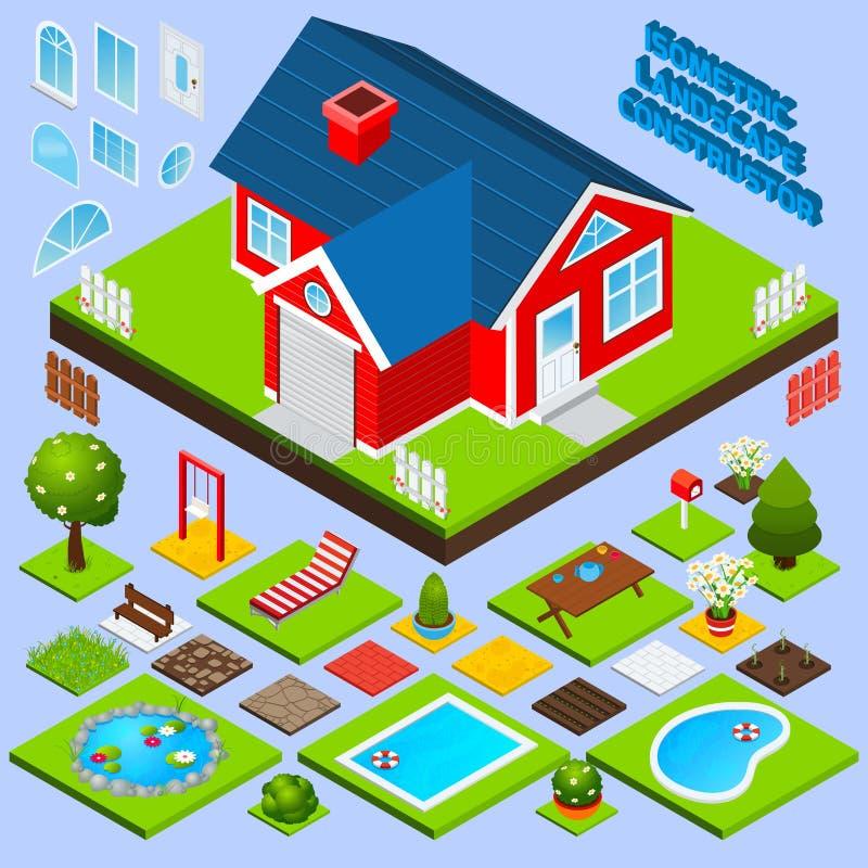 Landscape design isometric stock vector illustration of for Pool design elements