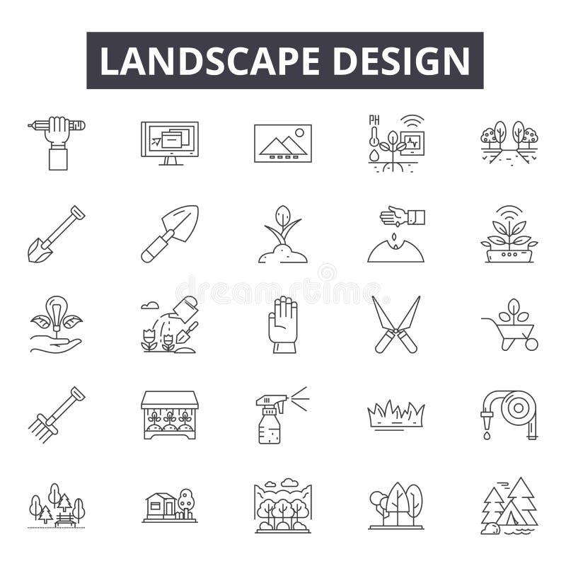 Landscape design line icons, signs, vector set, outline illustration concept stock illustration
