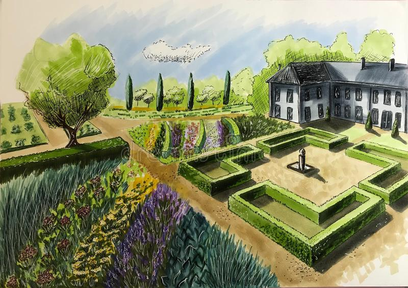 Drawing House Garden Cottage The View From Top Stock Illustration
