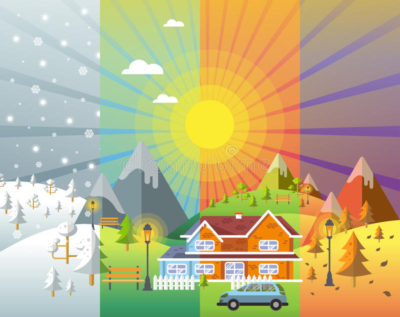 Landscape design set with winter spring summer autumn stock vector image 82101517 - Autumn plowing time all set for winter ...