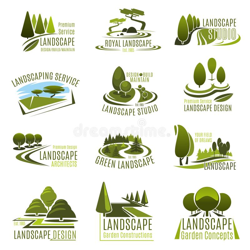 Landscape design company icon with green tree. Landscape design studio icon set. Landscaping and gardening service company emblem with summer park green tree vector illustration