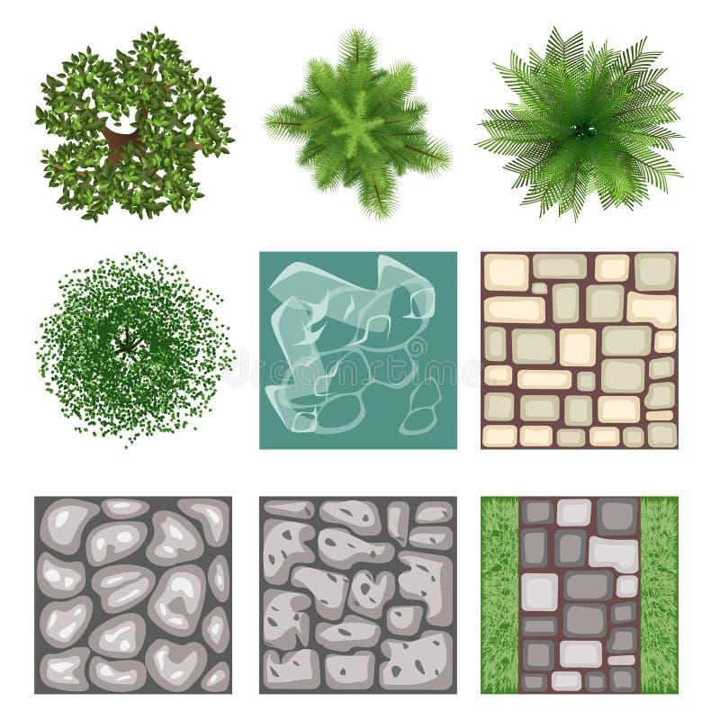 Landscape Illustration Vector Free: Landscape Design Top View Vector Elements Stock Vector