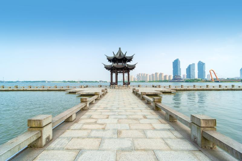 Landscape of Didang Lake in Shaoxing, China. Ancient Chinese pavilion at Didang Lake in Shaoxing, China stock images