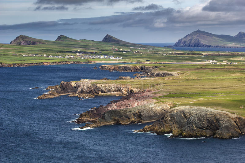 Landscape on Dingle peninsula. (co Kerry, Ireland) with three sister hills in the background stock image