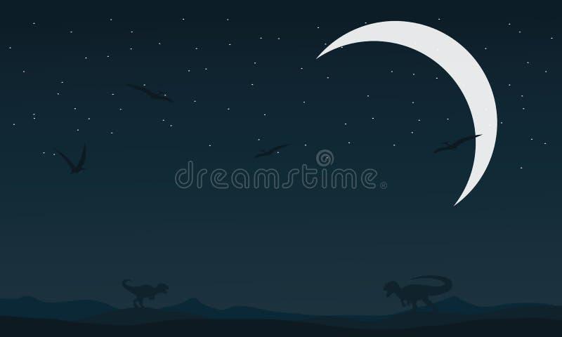 Landscape dinosaur at night silhouettes. Vector illustration stock illustration
