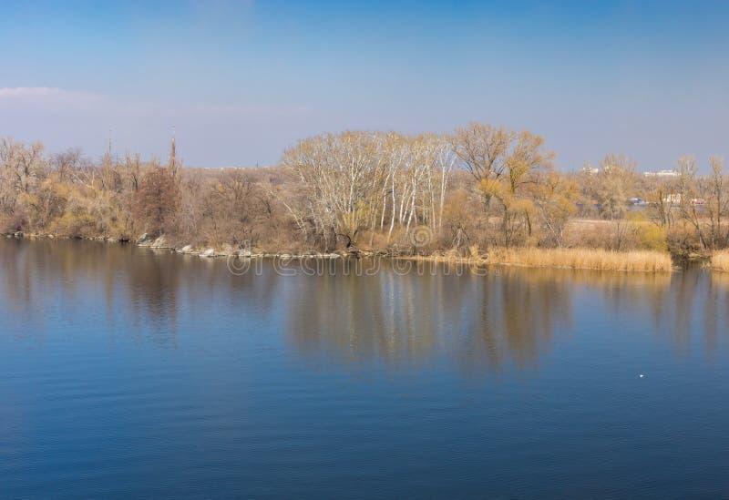 Landscape with Dnepr river near Dnepr city, Ukraine. Spring landscape with Dnepr river near Dnepr city, Ukraine royalty free stock photography