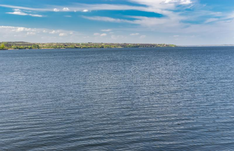 Landscape with Dnipro river at spring season. In central Ukraine royalty free stock images