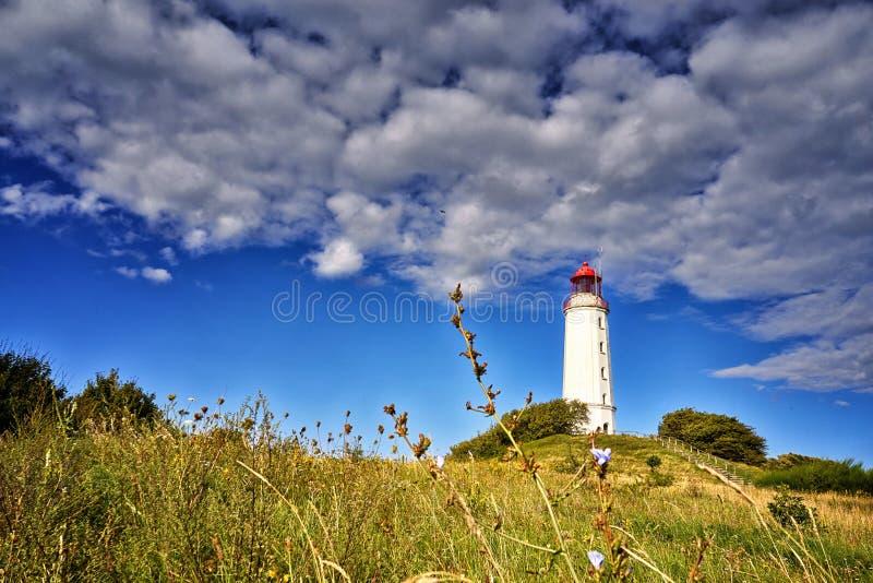 Landscape with Dornbusch lighthouse on the island of Hiddensee, Baltic Sea. Coast, germany, landmark, nature, tourism, park, pomerania, travel, mecklenburg stock images