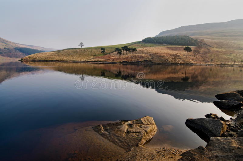 landscape of dovestone in early march morning royalty free stock photography