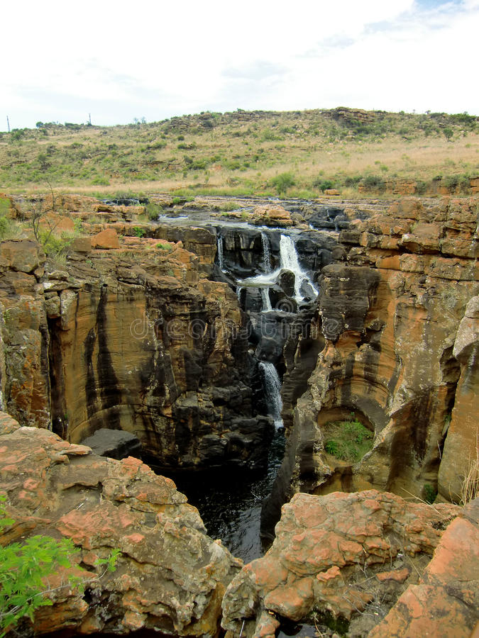 Landscape with downfall in south africa. A little downfall in a canyon of south africa stock photo