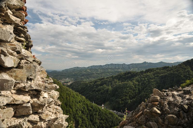 Landscape from Dracula`s fortress stock photo