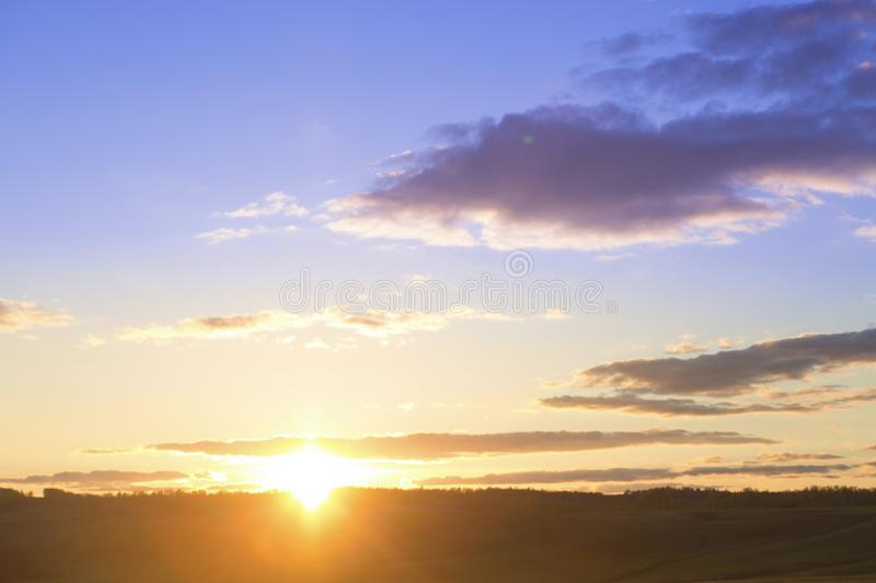 Landscape and dramatic sunset or sunrise sky stock photo