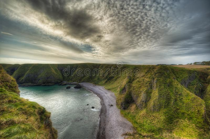Landscape from Dunnottar Castle in Scotland. Near to Aberdeen - United Kingdom.  stock photography