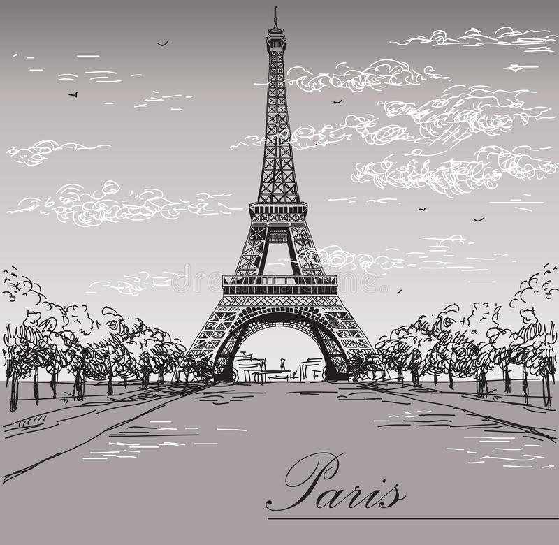 Download Landscape With Eiffel Tower In Black And White Colors On Grey Stock Vector