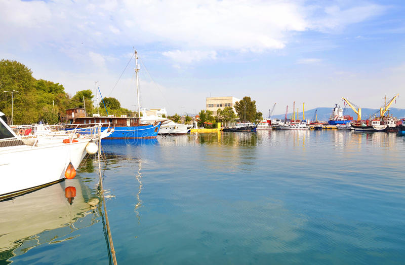Landscape of Eleusis or Elefsina port Greece stock photography