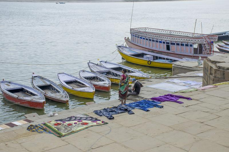 Landscape embankment city of Varanasi Gang River India royalty free stock photography