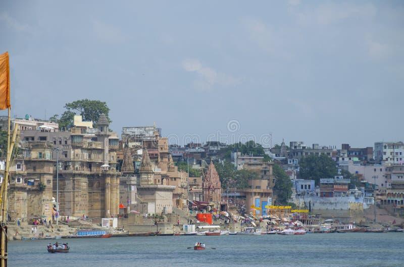 Landscape embankment city of Varanasi Gang River India stock image