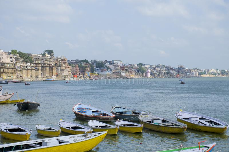 Landscape embankment city of Varanasi Gang River India royalty free stock image