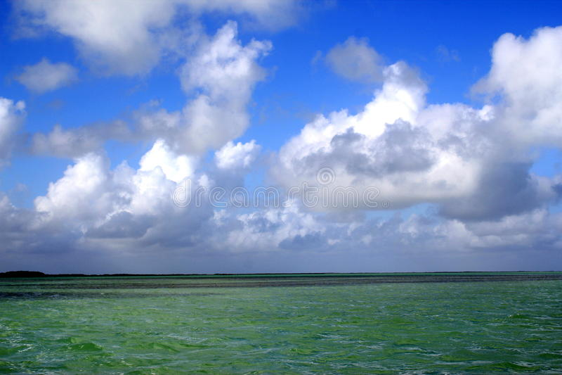 landscape of emerald green ocean with blue skies in Islamorada in the Florida Keys royalty free stock photos