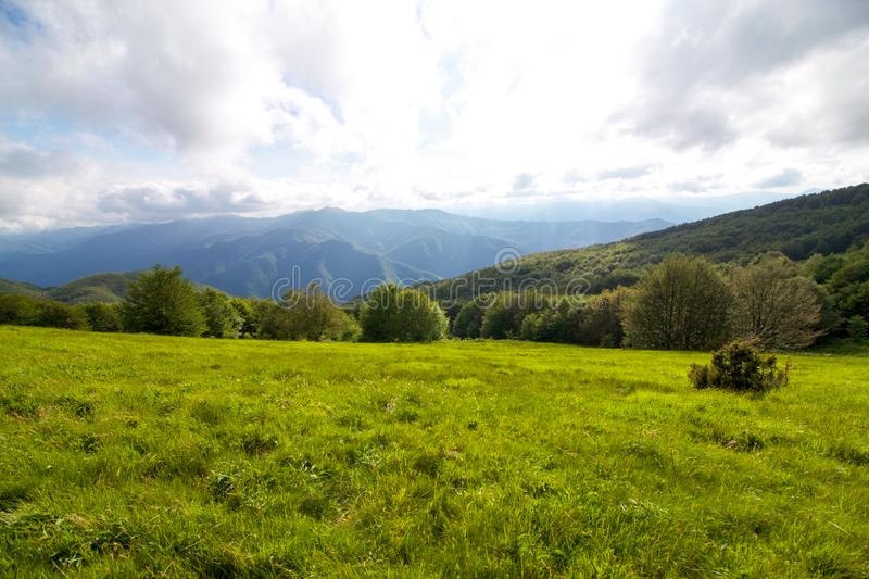 Landscape of emilia romagna apennines in springtime royalty free stock photos