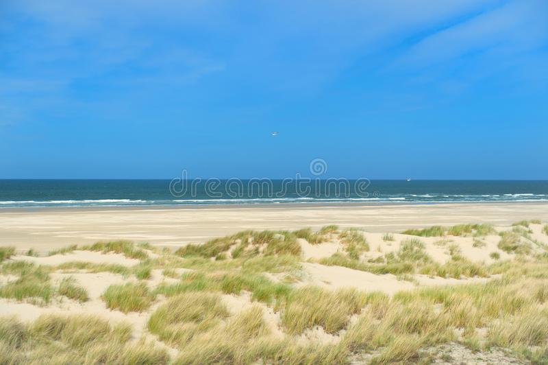 Landscape empty beach. At Dutch island Terschelling stock image