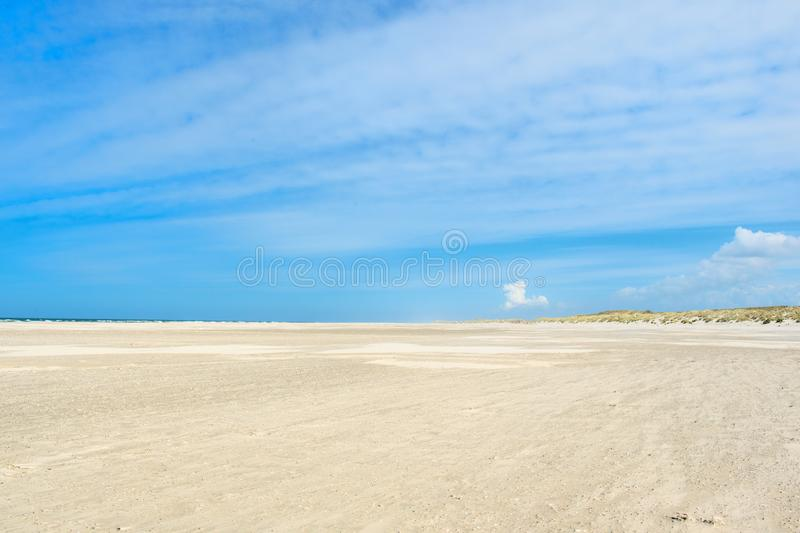 Landscape empty beach. At Dutch island Terschelling royalty free stock photography