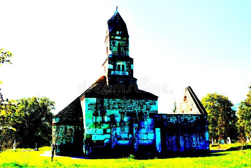 Roman ruins and old Christian church IV century in the village Densus, Transylvania, Romaniaa royalty free stock photography