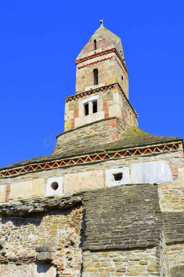 Roman ruins and old Christian church IV century in the village Densus, Transylvania, Romaniaa royalty free stock image